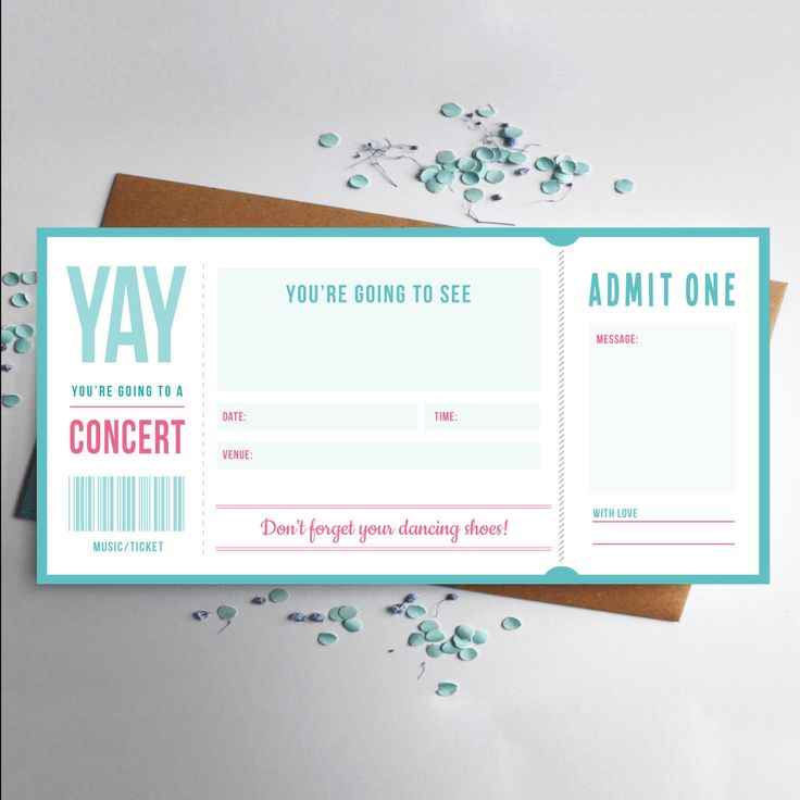 Music ticket concert gift by RodoCreative on Etsy Are you taking your music loving friend to a concert?  Our Music ticket is The perfect way to announce the surprise!  if it's a birthday or another special occasion, hand them this ticket before the real one arrives! Shop our @Etsy store #musicticket #concert #gig #musiclover #ticket #gift #birthday #personal #specialoccasion