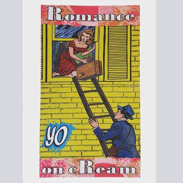 Romance on cream (Broke  Windows series) 2015 cm 38×22 #acryliconpaper #inkonpaper #collage  #illustration #drawing #comics #paperpainting #romance #yo #figurativeart #paperart #pastel #workonpaper #monacoart