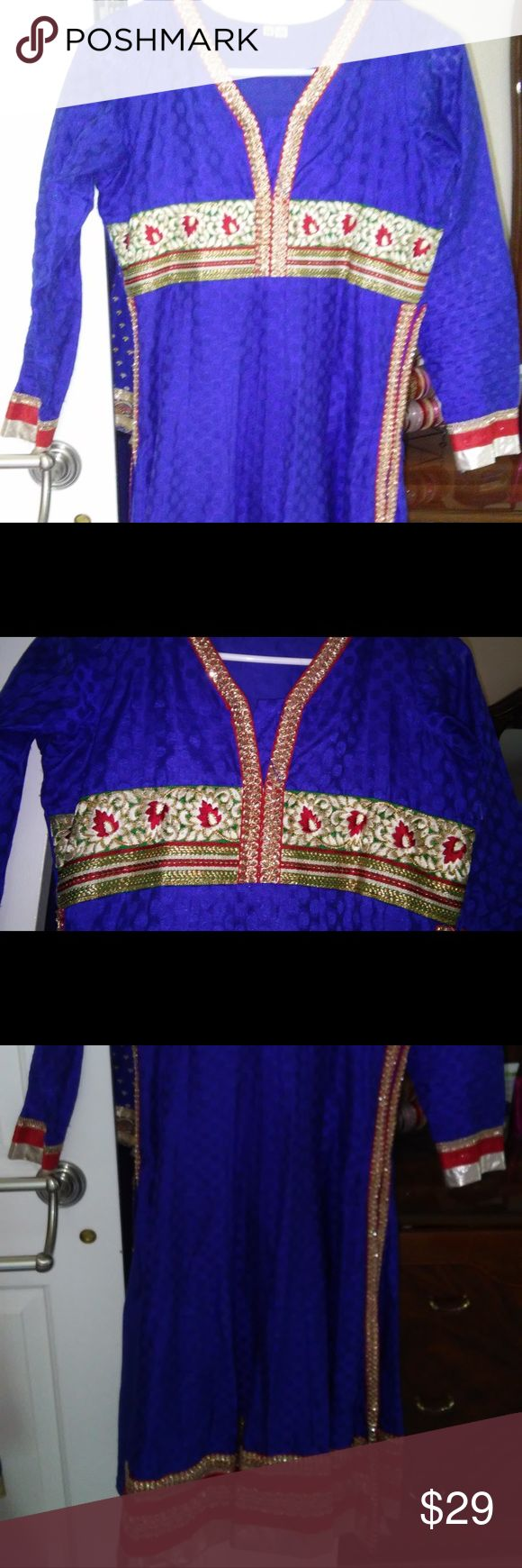 Women's Blue and Red Anarkali Top Beautiful long sleeved anarkali top perfect for parties. Just pair the top with black leggings and sandals, and you have a look! Preworn salwar kameez, but only worn twice- great condition. Please message me if you'd like more photos or want to make an offer. Other