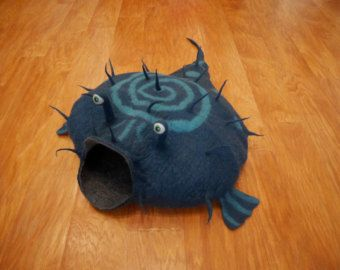 Bonneterie house Cat Cave Pet Pet Bed gris et rouge par EnebrOso