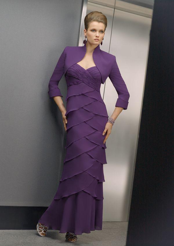 MOB Sweetheart Broad Strapes Layered Chiffon Dress-WMOB0004, $172.45
