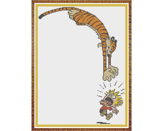 Calvin and Hobbes - Attack - Counted Cross Stitch Pattern (X-Stitch PDF)    Thanks for visiting my store! This cross-stitch pattern was personally and lovingly designed by me!    Ive shown this pattern with a background color of white-white, but you could use any pastel color fabric you like except for beige, cream, beige, or pink. Check out the second image where I've shown the pattern divided into two parts. Obviously, if you divide the pattern as shown in the second image, you'll need to…
