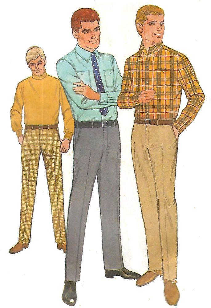 beb6d5b2fec1d Details about Vintage 1960's Sewing Pattern Men's Shirt & Hipster ...