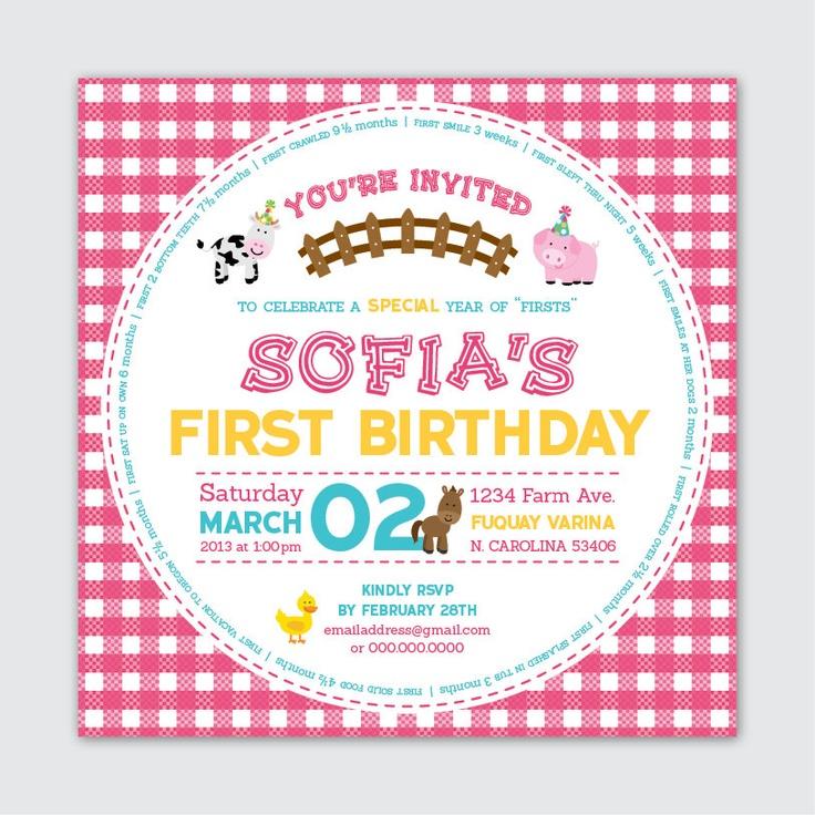 First Birthday Invite  Farm / Barnyard Theme by AlphabetSoupDesign, $16.00