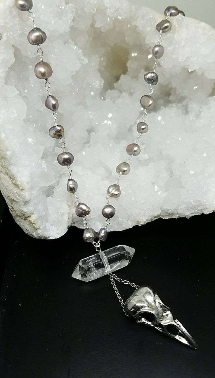 Great jewelry from Lola https://www.etsy.com/listing/557615525/skull-and-pearl-necklacebird-skull?ref=shop_home_active_2 with our Gray baroque pearls