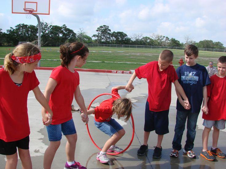 field day birthday parties | Thread the Hula-Hoop