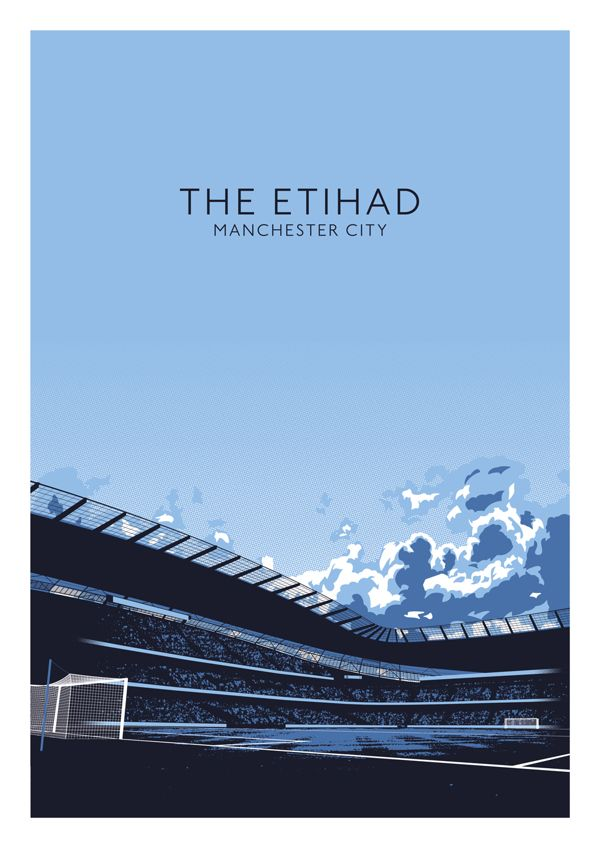 English Stadiums - by Ryan Brown #ilustracao #futebol #esporte #estadio #inglaterra #manchester #city #mancity #illustration #football #soccer #sport #stadium #england #teams #etihad #ryan #brown