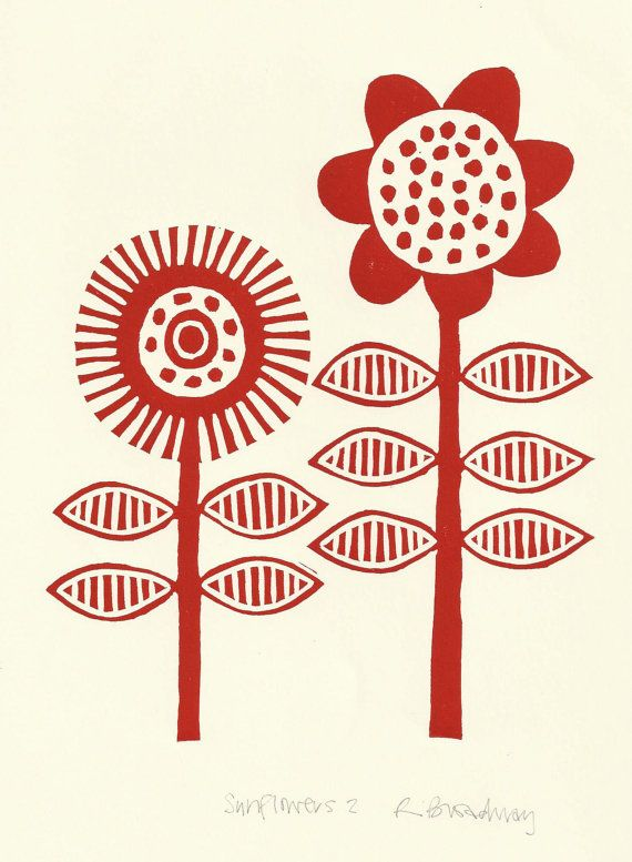 Red sunflowers lino print via Etsy