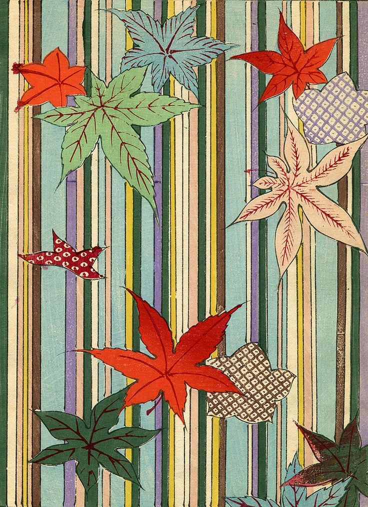 Kimono Pattern with Leaves 1880s, woodblock print