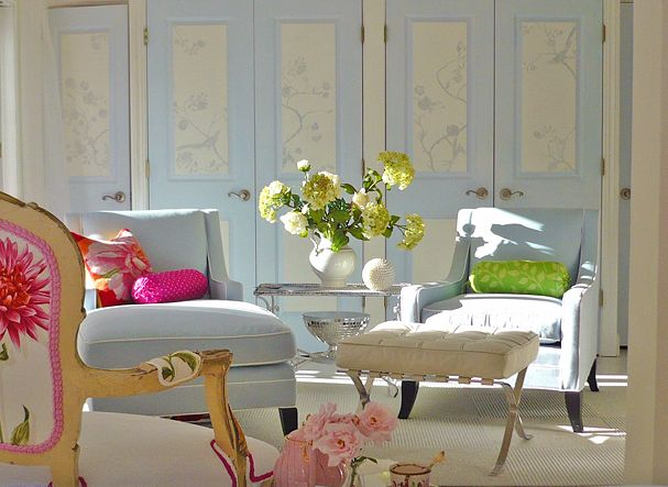 Loving the dusty blue walls.. inspiration for my bedroom..