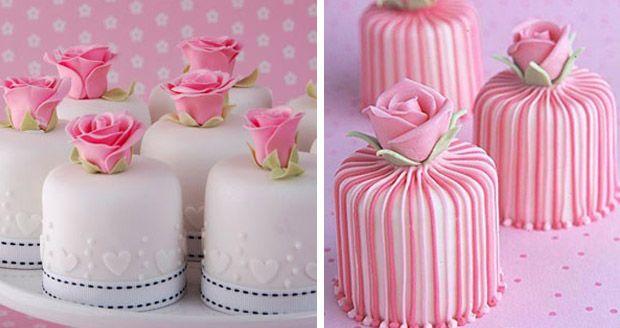 mini bolo rosa. mini bolo branco. bolo rosa casamento
