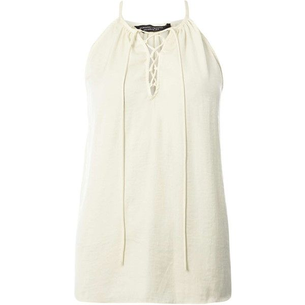 Dorothy Perkins Cream Lace Up Cami Top (33 AUD) ❤ liked on Polyvore featuring tops, cream, lace up tank top, white tank top, camisole tank, cream tank top and camisole tops
