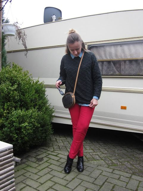 Fashion translated: Outfit: Red pants and writer's block