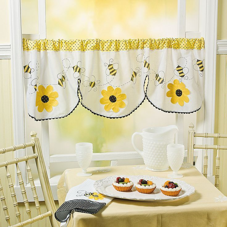 Classroom Window Ideas ~ Honey bee kitchen decor valance for
