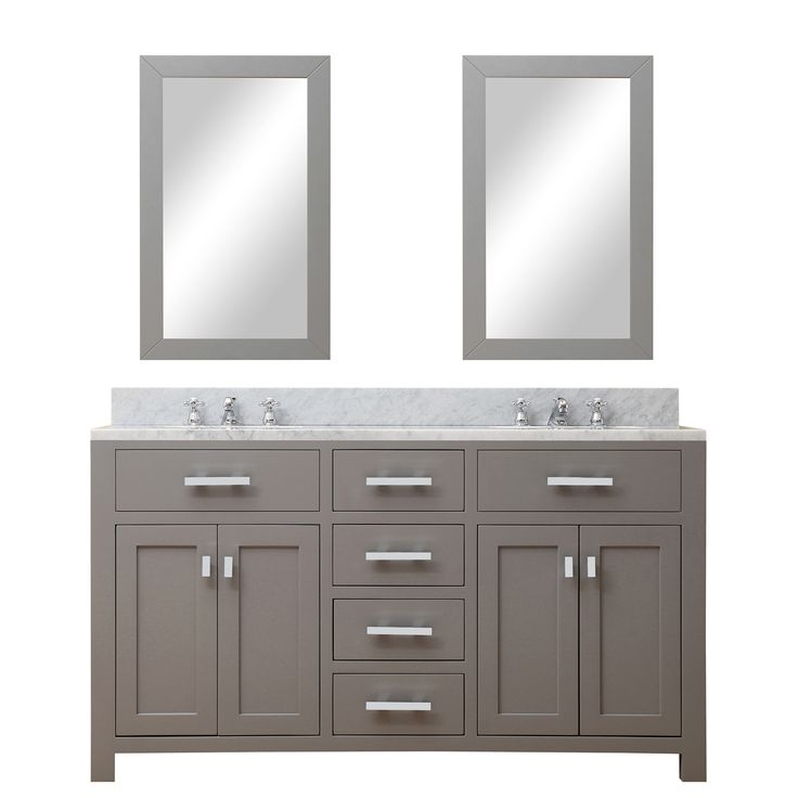 "Creighton 60"" Double Sink Bathroom Vanity Set with Mirror"