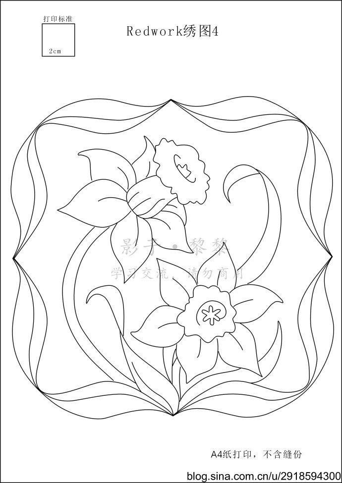 [转载]【影子手绘】单色绣花卉<wbr>绣图  9 floral redwork patterns