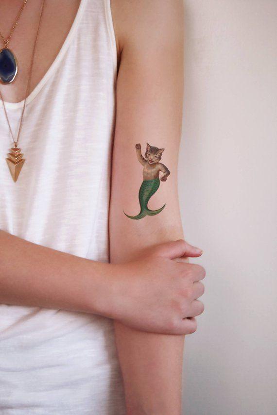 Cat mermaid temporary tattoo / purrmaid temporary tattoo / cat lover temporary tattoo / cat lady tattoo / mermaid gift / cat lady gift idea   – Tatuaże