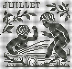 Month 07   Free chart for cross-stitch, filet crochet   Chart for pattern - Gráfico