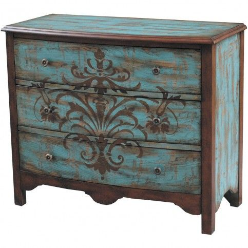 Distressed Teal Accent Cabinet