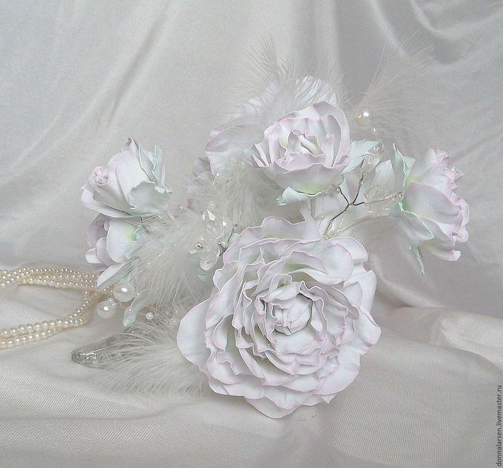 Купить Заколка-краб из фоамирана Белая Королева - белый, белая роза, белая королева