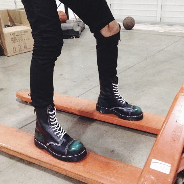 The '8761 BxB Boot' by Dr. Martens. Shop it here: http://www.solestruck.com/dr.-martens-8761-bxb-boot-mens-green-blue/index.html