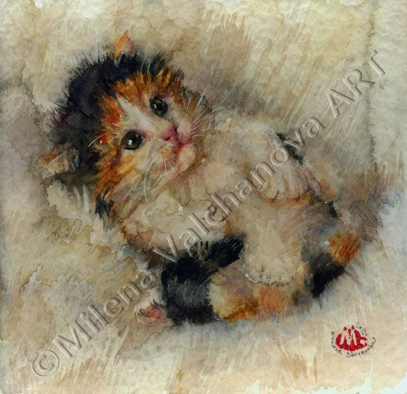 Сладък колоритен коте-CAT ART PRINT - акварел котка живопис, котка печат, котка стена изкуство, котка декор, котка любовник подарък, котка портрет