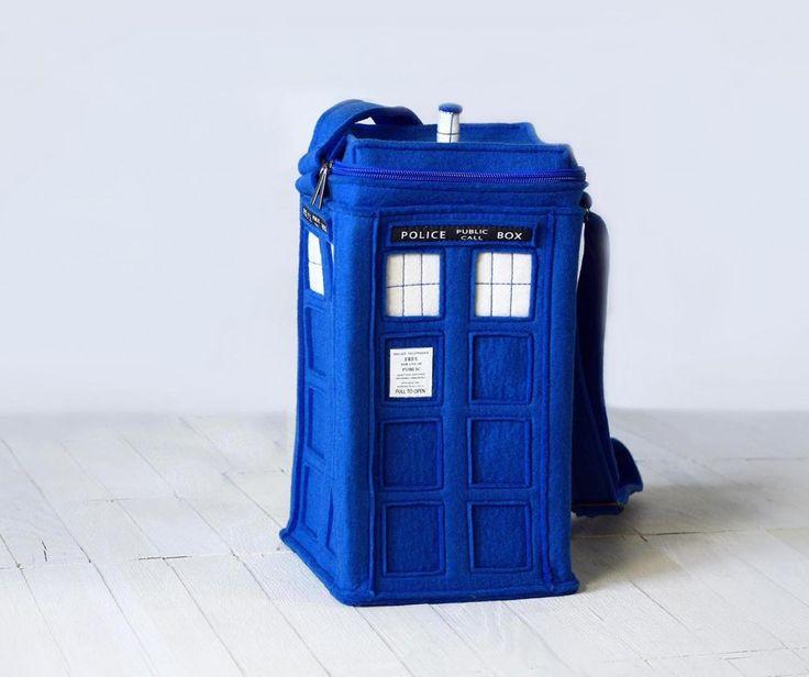 Сумка Будка Синяя TARDIS   krukrustudio - оригинальные сумки-подарки, молодежные сумки-объекты.
