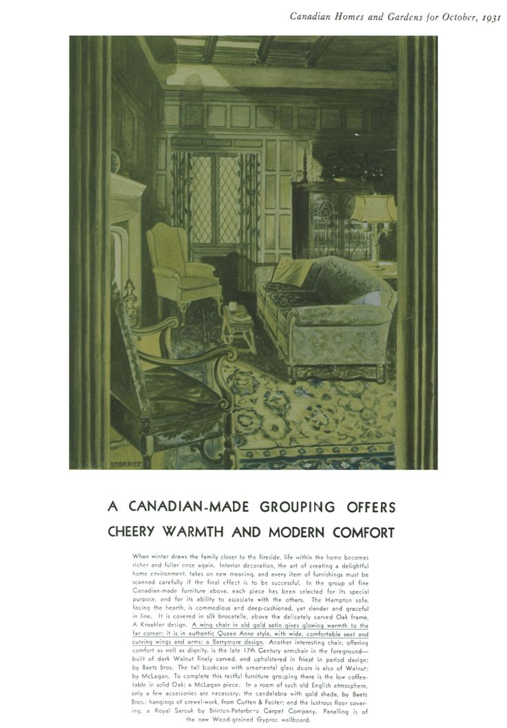 Magazine dated 1931 showing a Barrymore chair! Thankful we are still manufacturing in Canada!