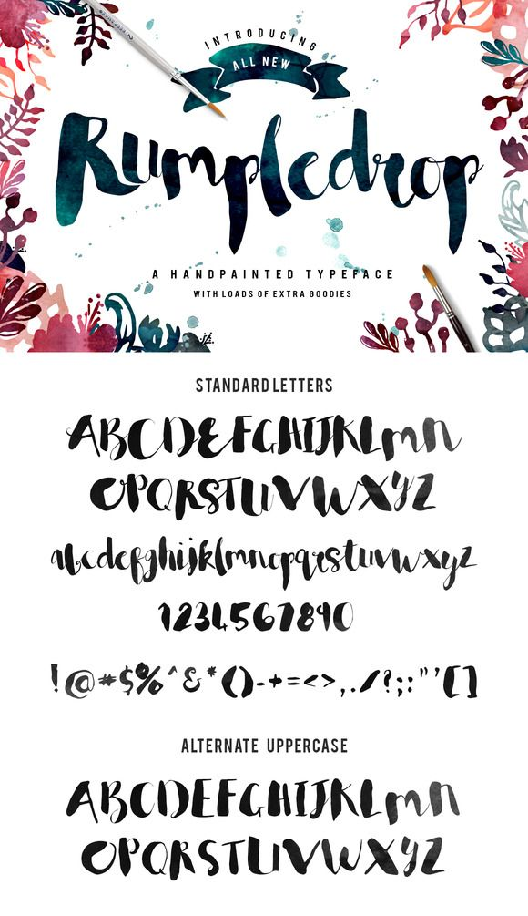 Rumpledrop Typeface Bundle (25%off) by Creativeqube Design. Hand-painted brush font with extras.