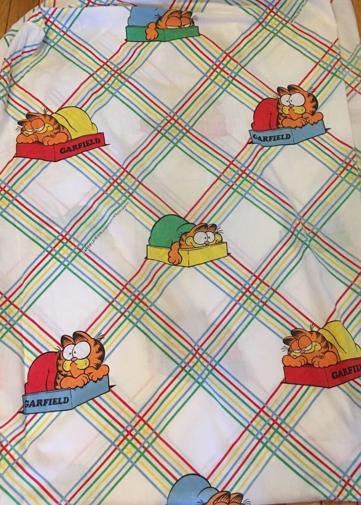 Vintage Garfield The Cat Double Fitted Sheet Cutter Fabric 1978 United Feature  | eBay