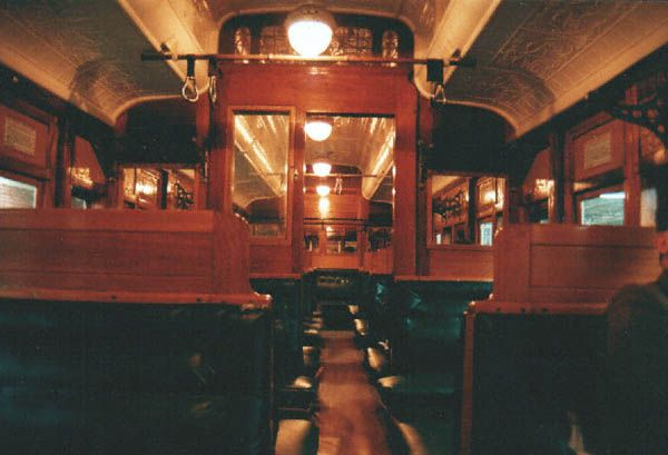 "Interior of the ""Red Rattler"" train."