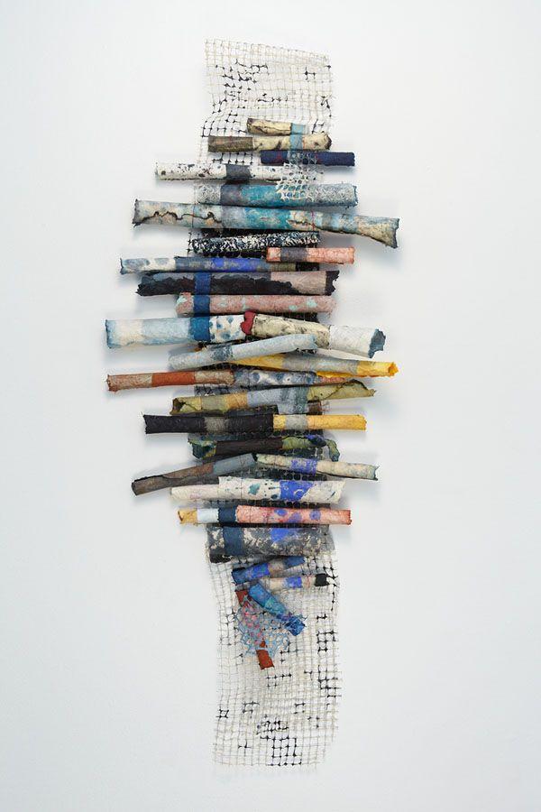 Jennifer Davies, Up and Up. Handmade paper, pigment, birdnetting.