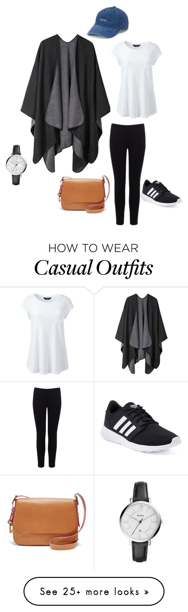 """Casual"" by sarah2o on Polyvore featuring SO, Warehouse, Lands' End, FOSSIL, adidas and plus size clothing"