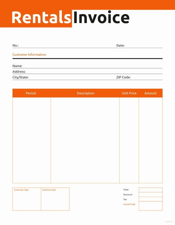 Rent Invoice Template Word Best Of Rental Invoice Template 6 Free Word Pdf Document Invoice Template Word Invoice Template Employee Handbook Template