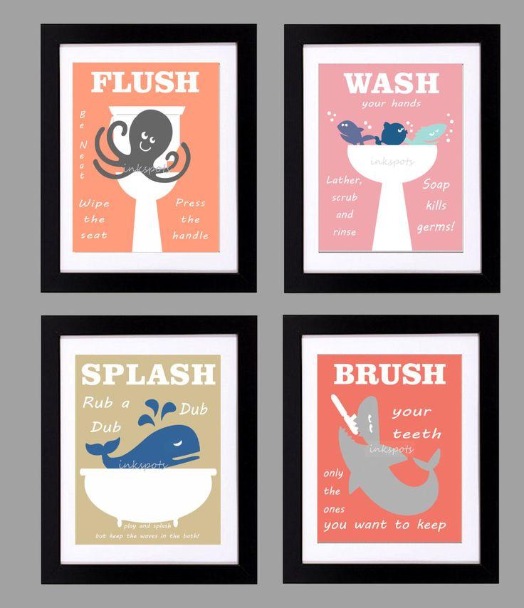 Wall Art For Childrens Bathroom : Kids bathroom print bath wall art rules
