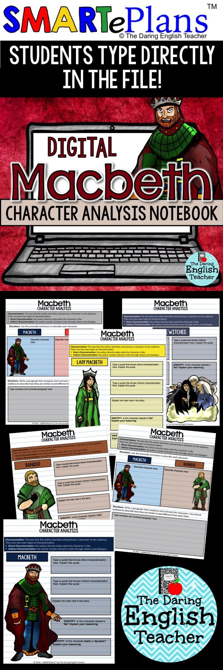 SMARTePlans Digital Macbeth Character Analysis Interactive Notebook
