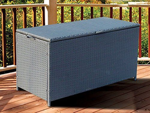 Full Steel Rattan Storage Chest Trunk Garden Patio Furniture Box Dining Eating Picnic Table Set & Neat Tidy Beautiful Contemporary Outdoor Living Garden Conservatory Patio Summer Sunny Innovative