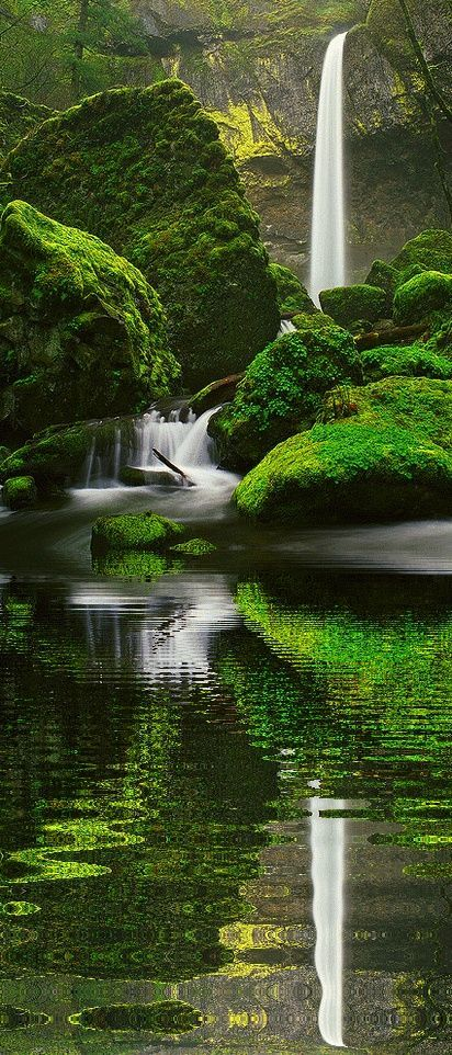 Stunning beautiful amazing waterfalls reflection