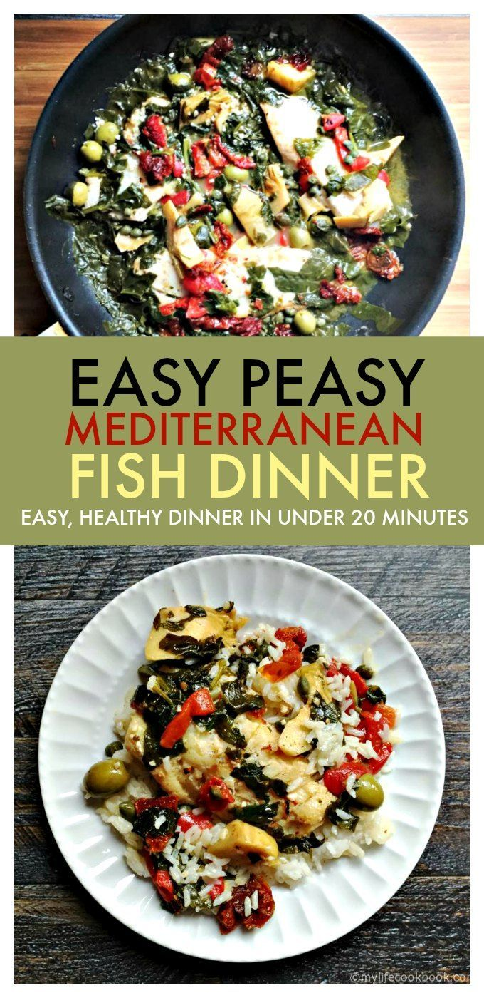 This easy Mediterranean fish dinner takes less than 20 minutes to make with ingredients you probably have on hand. So if you are looking for easy fish dinner recipes, try this easy, healthy and tasty fish dinner tonight! Tastes great over rice! #fish #fishdinner #easyfishdinner #healthydinner #mediterraneanfish #skilletdinner #tilapia #lowcarb #lowcarbdinner
