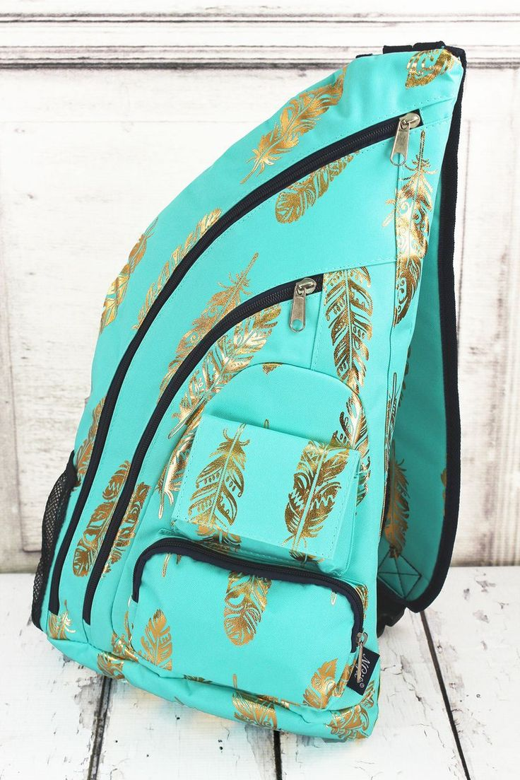 Metallic Gold Fancy Feathers Sling Pack in Navy or Mint/ Backpack/ Diaper Bag for Dad/ Festival Backpack