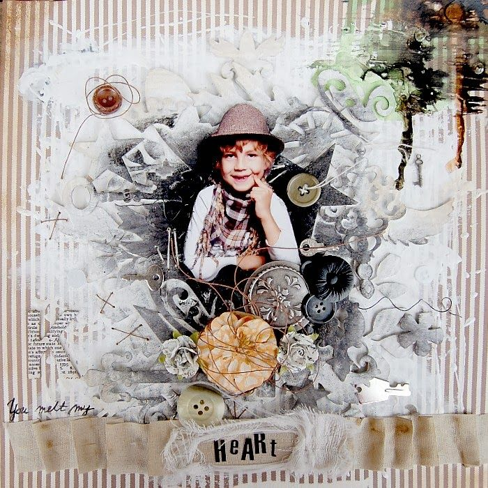 SCRAPBOOK ABUNDANCE: You melt my heart LO - mixed media art with Tattered Angels High Impact Paint - white - mixed media paint