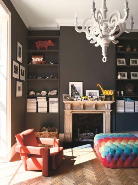 Parquet flooring & dark interiors with pop of colour, love!