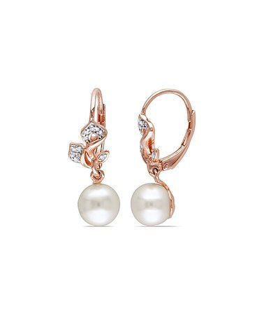 cd907cfa0 Cultured Pearl & Diamond Floral Twist Drop Earrings #zulily #zulilyfinds
