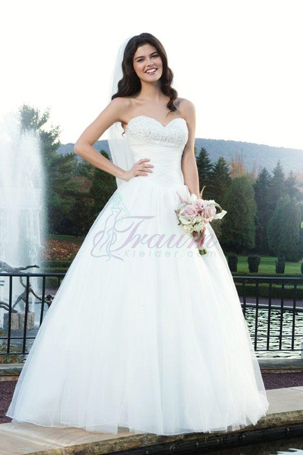 Prinzessin Herz-Ausschnitt Tüll Kapelle Schleppe modernes Brautkleid