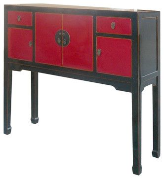 Chinese Blacku0026Red Lacquer Entrance Hallway Altar Console Table   Eclectic   Console  Tables   Golden Lotus