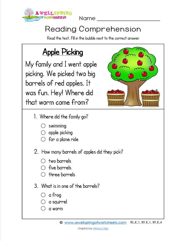 A Kindergarten Reading Prehension Worksheet About
