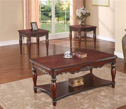 Traditional Merlot Wood Coffee Table Set
