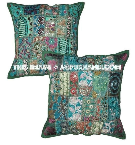 shop green embroidered throw pillow covers for couch vintage bedroom pillows on sale these stylish decorative patio cushions are shipped usa uk canada