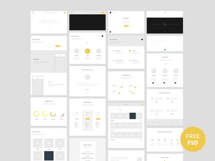 One page website wireframes - by Nelson Noa                                                                                                                                                     もっと見る