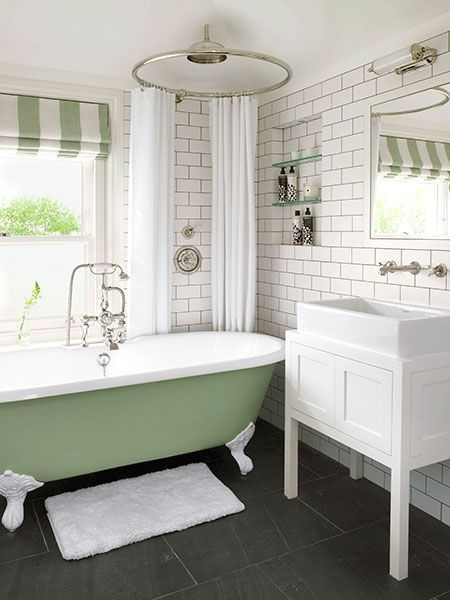 22 Sophisticated Claw Foot Tubs Interiorforlife.com A crisp window dressing like this Roman shade makes a bath feel more finished and introduces color and pattern. Window film can provide privacy on the lower sash.